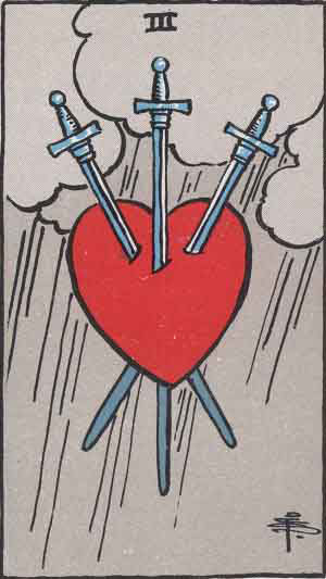 which tarot cards indicate cheating three of swords