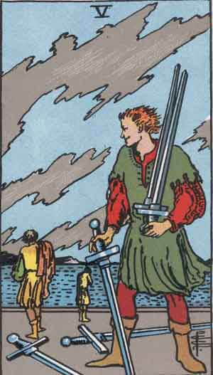 which tarot cards indicate cheating five of swords