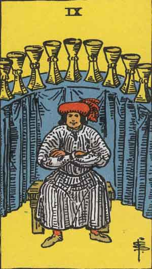 Which tarot card indicates wealth? Nine of Cups