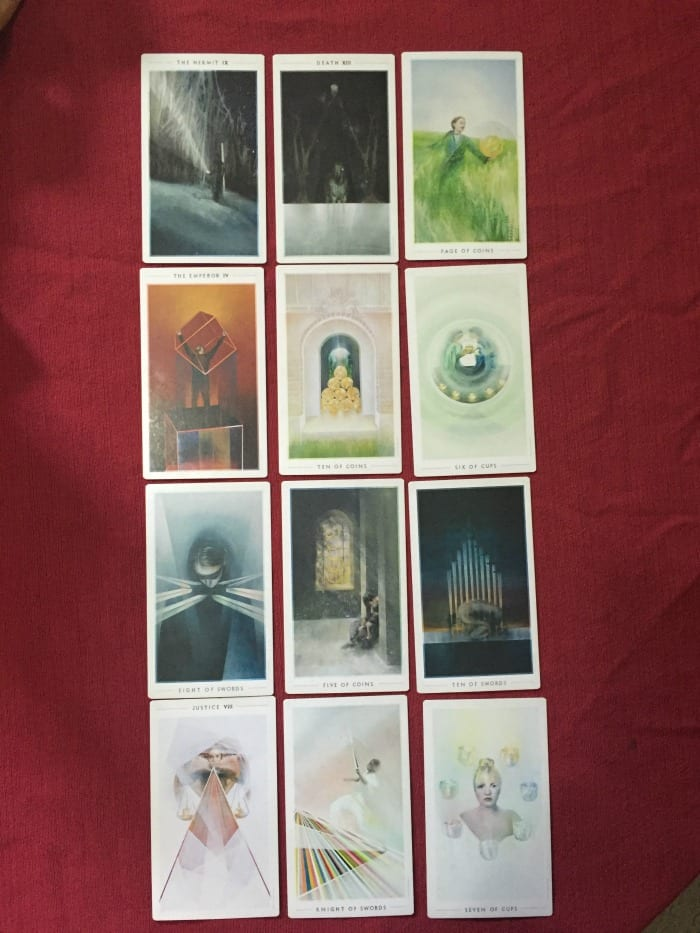 Test driving Tarot Element's Grow Model Tarot Spread with extra cards.