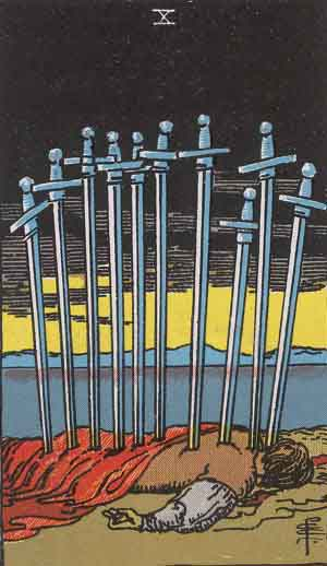 Which tarot card indicates grief? Ten of Swords