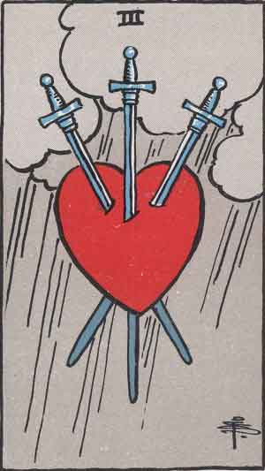 Which tarot card indicates grief? Three of Swords