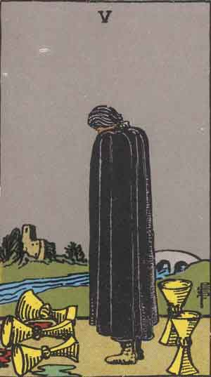 Which tarot card indicates grief? Five of Cups