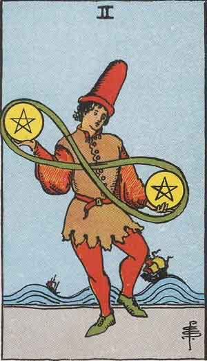 Which tarot cards indicate travel? Two of Pentacles