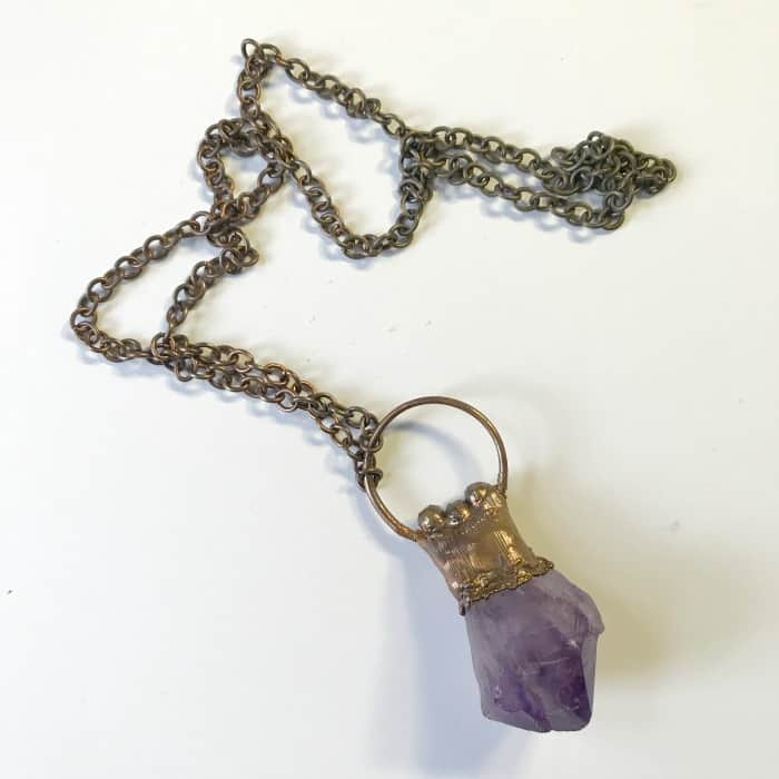 Tarot and Crystals and Rituals…oh my! A primer for working with Tarot and Crystals. Amethyst necklace.