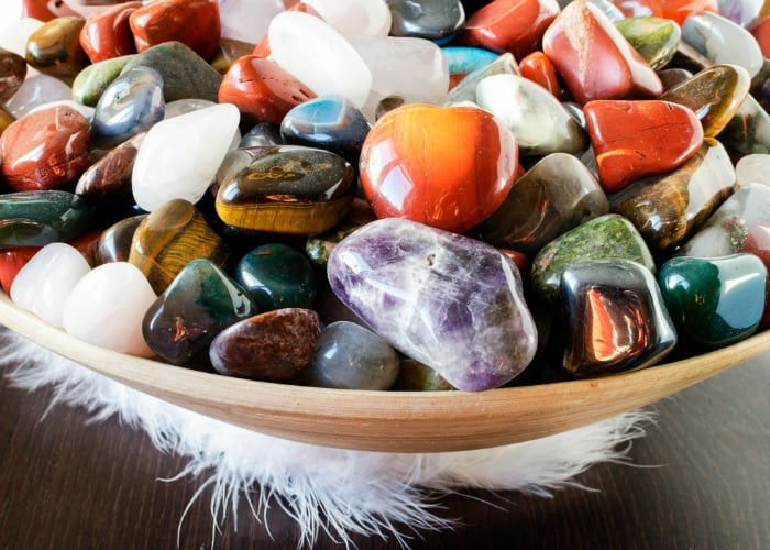Tarot and Crystals and Rituals…oh my! A primer for working with Tarot and Crystals. Bowl of crystals