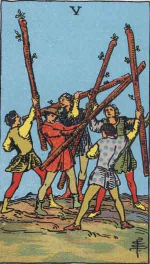 Tarot Card Meanings - Five of Wands