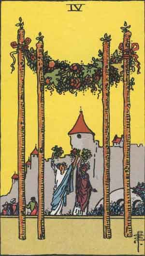 Which tarot cards indicate buying a new home? Four of Wands