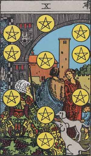 Which tarot cards indicate children? Ten of Pentacles