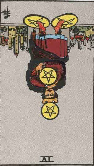 Which tarot cards indicate criminal activity? Four of Pentacles reversed