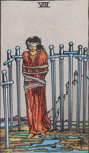 Which tarot cards indicate criminal activity? Eight of Swords