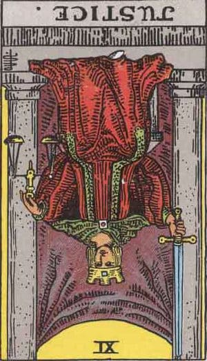 Which tarot cards indicate criminal activity? Justice reversed